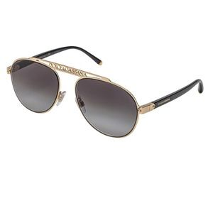 Gold & Grey Browline Modified Aviator Sunglasses